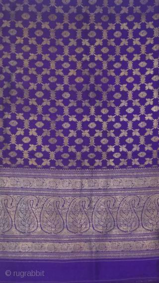 Old vintage real Zari Pitambari sari made in Benaras city of Uttar Pradesh India for the royal families of india