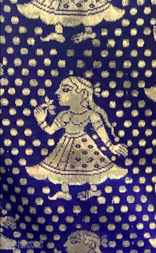 Vintage real zari sari from the Deccan region India 1900 C. with one of finest zari figurative  work .the size of the sari is 480cm X 110cms.