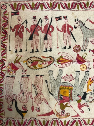 Vinntage Kantha from Murshidabad district of West Bengal India 1900C.depecting the Indian army with elephant and the British army with horse and king and queen in the camp.the size of the Kantha  ...