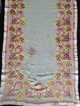 ottoman empire silk embroidery, perhaps greece..complete, good condition, 119x46cm, slighty stained as shown. fine work at low price , making a new one would cost hundreds times more..