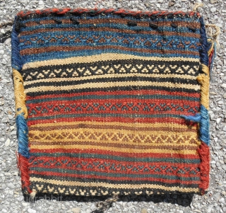 "Complete Southwest Persian pile chanteh (11""x 10.5"") with tassles. In excellent, full pile, condition. Fancy, kilim back. Late 19th c."