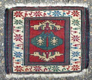 Caucasian pile bag face, rare and unusual drawing, all wool, all good colours, cleaned, warp depression, blue wefts, 61 x 48 cms.