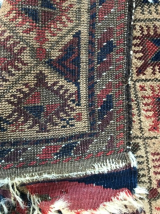 Camel-ground Baluch rug, simple geometric design but graphically very dynamic. Great wool, size is about 2'x3'. Excellent handle.