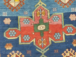 """1915 Yeravan rug with four-cartridge pole medallion (also known as Karabagh Lampa medallion) and hooked diamonds (all natural dyes) Size: ca, 2,63 x 1,31 meter- foot ca, 8,8"""" x 4,4"""" Dated 1333 Inscription:  ..."""