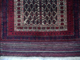 Baluch Tribal rug., Vintage camel-hair ground Rug with Prayer design., Woven circa 1975. Great condition., Wool pile on wool foundation with goat's hair fantastic kilim ends Dimensions 143x77 cm