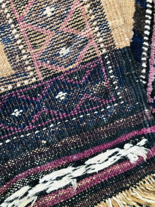 A nice Camel ground Baluch about 80-90 years old,the border is rug and the middle is Kelim.in a very good condition.