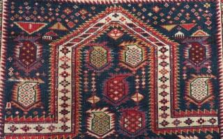 Antique Caucasian Shirvan Marasali Prayer Rug Circa 1870-1880 Size.146x115 Cm