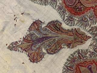 19th century Indian shawl, condition isn't very good, have holes and repairs size 300/120cms