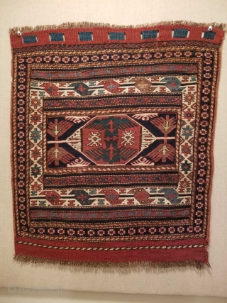 This post is for a 19th cen. Shahsevan eagle sumac bag.  Prized by collectors for their superior workmanship, drawing ,colors and execution.  Most photos are outdoors , the aubergine is  ...