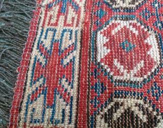 antique Beshir | 198cm x 101cm | repairs and wear, good colours