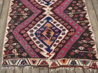 "E. Anatolian kilim, 2nd half 19th C., 65"" x 92""  This kilim has lost perhaps 1/3 of its length; however, deeply saturated richly colored dyes and excellent condition make up for  ..."