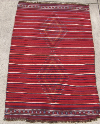 "One of 6 dramatic and colorful sleeping rugs purchased from Baluchi tribesmen living in the area between Quetta and Kandahar. The rug measures 47"" x 69"".  The wool is long and  ..."