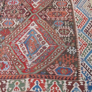 "C.Anatolian kilim, 8'7' x 9""  2.74m x 2.44m, 3rd qtr.19th C. or earlier.  Recently purchased from a family who has owned it for over 95 years, this Central Anatolian kilim  ..."
