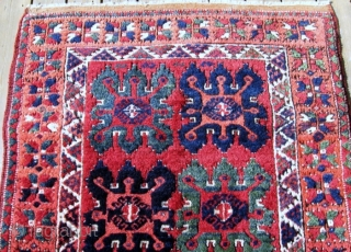 """19th C. C. Anatolian Gelveri rug, 4' x 8'5"""". Richly colored and in perfect condition. (Faded appearance is due to bright light).  See Bruggemann & Bohmer, RUGS of the PEASANTS &  ..."""