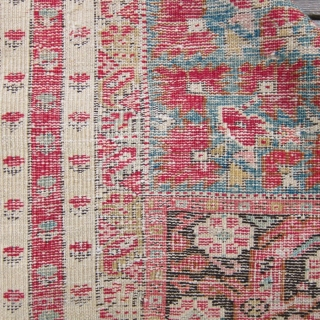 "2nd half 19th c. Turkish Kirshehir rug, 44"" x 88"".  Lovely narrow borders surrounding a richly decorated central bouquet of flowers."
