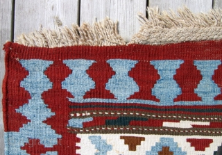 "Antique Shahsavan kilim 4'9"" x 9'4""  Excellent condition (small bites in 3 corners). Light blue and ivory are worked in cotton. Additional photos available."