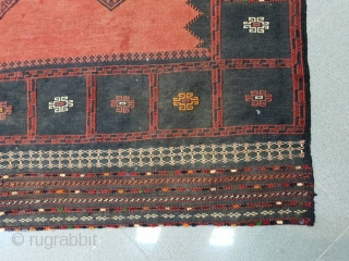 Rare baluch sofreh in red , with nine stars ,borders are oriented with colourful  piles stars , endings are folded Circa 1950 , 150 * 145 cm  A real tribal treasure