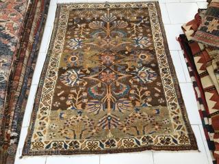 Armenian rustic rug with unique design Strange coloring, floral pattern collectors choice Circa 1940 Measuring: 185 * 130 cm