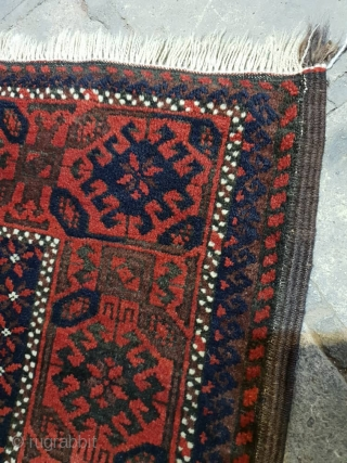 Antique baluch (Jan beigi) rug In excellent condition  , circa 1920 Colors are vivid, edges are goat hair Endings are originally  mended