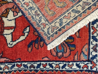 A hundred years old lilian rug , sarough region , circa 1920-30, excellent  condition. Armenian fine weaving , depicting khosrow parviz the king , all colors are naturally dyed , vivid red  ...