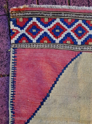 Beautiful and unique Manastir kilim small rug from the mid 19C, 84cm x 64cm.  Really top shelf weaving. Never seen another like it.  Great tribal design, soft madder red field. Thin, textile like handle.  ...