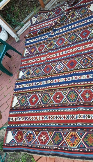 Huge classic late 19c to early 20c Shirvan kilim rug, 327cm x 166cm, and in excellent condition. Amazing piece that is in almost mint condition - has been hanging on the wall  ...