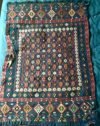 Beautiful Anatolian Nixed Technique  Yastik ? 61 * 95 cm circa mid C19th Wool and cotton Basically good condition one damaged area sees pic Pay PayPal or BACS transfer   postage included   ...