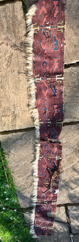 C19th Yomut Carpet skirt Fragment 152 cm * 15 cm 