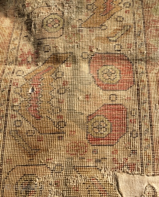 Ottoman Silk Prayer Rug 186 cm * 126 cm  Conserved face down, with damage and wear but mostly complete  Pay PayPal or BACS transfer   postage included   for UK  ...