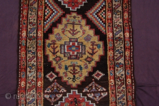 Pre 1900 meaty brown ground Tribal Kurdish short runner 209 x 91 cm (7ft x 3ft). All natural dyestuffs, colours: red, yellow, brown (undyed), blue, light blue, white, blue green, light blue  ...
