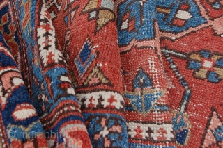 """Antique Karadje design Heriz 181 x 147 cm (6ft x 4ft 11"""") late 19th century. All natural dyestuffs. Condition: good, evenly low pile (some light wear), original selvedges complete and intact (some  ..."""