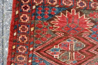 antique tribal middle Amu Darya Ersari Bashir animal trapping 124 x 46 cm, 2nd half 19th century. all natural dyestuffs. condition: very good, evenly full till medium pile all over of very  ...