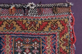 "Antique tribal Afshar bagface 87 x 62 cm (2ft 11"" x 2ft 1"") last quarter 19th century. All natural dyes, colours: red, dark blue, sky blue, emerald green, yellow, white, brown, dark  ..."