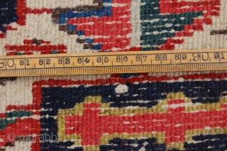 "Antique Karadja Heriz 344 x 250 cm  (11ft 6"" x 8ft 4"") 1930's. All natural dyestuffs. Condition: good, evenly good low pile (slight wear), original sides complete and intact (some wear  ..."