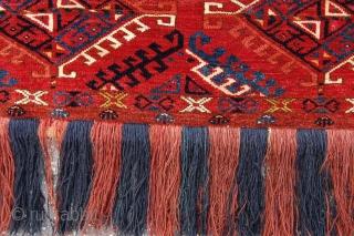 "Fine Antique Ersari Turkoman trapping 151 x 42 cm (5ft x 1ft 5"") 2nd half 19th century. All natural dyestuffs, colours: red, dark blue, greenish blue, yellow, orange, ivory, brown. Condition: close  ..."