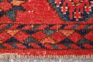 """antique mid Amu Darya Ersari torba 105 x 47 cm (3ft 6"""" x 1ft 7"""") mid 19th century. All natural dyes. Condition: good, evenly medium to low pile, original selvedges removed and  ..."""