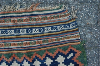 """Antique tribal Qashqai kilim 262 x 134 cm (8ft 9"""" x 4ft 6"""") 2nd half 19th century. All natural dyes. Condition: (very) good, original sides complete and intact, both endings complete (minor  ..."""