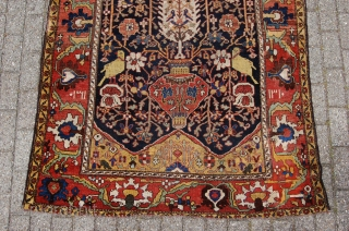 "antique dated ""1310"" tribal Bakhtiari main rug 206 x 147 cm (6ft 10"" x 4ft 11""). Condition: restored, evenly medium to low pile, original selvedges replaced by solid new ones, upper ending  ..."