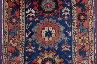 "Extraordinary antique Daghestan Avar small rug 128 x 82 cm (4ft 3"" x 2ft 9"") 2nd half 19th century all natural dyes colours: blue, red brown, ocre, sea green, white, 2nd blue,  ..."