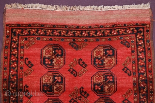 """Afghanistan Ersari tribe dowry rug 106 x 99 cm (3ft 6"""" x 3ft 4"""")(incl kilim) 1930's natural dyes with synthetic highlights colours: red, dark blue, pinkish red (fading aniline), brown, dark brown,  ..."""