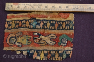 """Very fine ancient Coptic textile fragment 10 x 7 cm (4"""" x 3"""") 1st till 6th century part of a purchased private collection"""