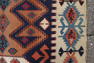 "Antique Reyhanli Malatya kilim woven in two parts 335 x 175 cm (11ft 2"" x 5ft 10"") 19th/20th century. All natural dyes. Condition: (very) good, the fabric without any wear except from  ..."