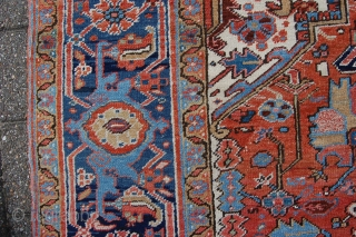 """Antique Heriz carpet 377 x 269 cm (12ft7"""" x 9ft), around 1920. All natural dyestuffs, Condition: (very) good, good evenly medium to low pile (minor wear), 0riginal sides complete and intact (wear  ..."""