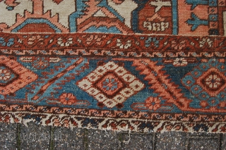 """Antique Heriz village carpet 364 x 275 cm (12ft 2"""" x 9ft 2') around 1900. All natural dyes. Good condition: evenly low pile all over (some scattered neat soumac repairs, see pics),  ..."""