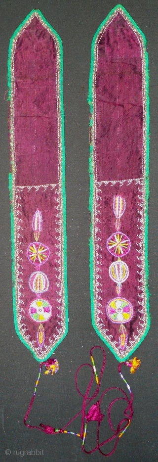 Old costume decoration from north of Khorasan. Nice embroidery has been executed on the silk and printed cotton with faux ikat design from Russia was used for the lining.
