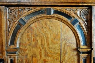 around 1650. When New York still was Nieuw Amsterdam...  Dutch mid 17th century 'Poort kast', oak and ebony inlay.  Nice low size, high 155 Cms, wide 140 Cm. deep 60 Cm.   The  ...