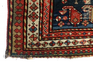 1890 Kazak Shirvan area, Prayer rug. 85 x 115 Cm.  Lovely worn in worship.