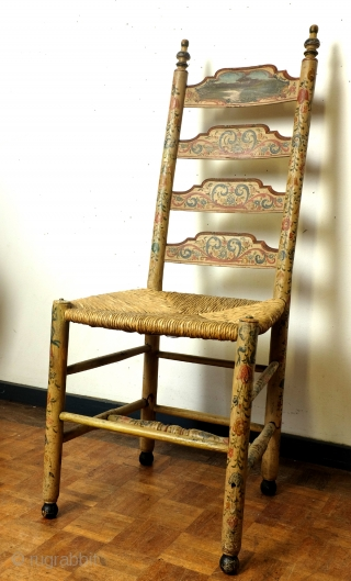 I proudly present: Hindelopen Stoel.  Rare, authentic and iconic piece of Dutch folk art. pre 1900.  Arisen above an utensil, I sell this as an object. hight 110 cm. seat hight 45 cm.  ...