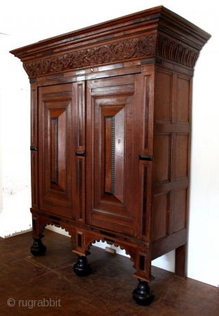 Dutch 17th century Kussenkast. 1660.  In very good condition.  oak with ebony and palissander.  Hight 211 Cm's. 7 feet.  Only minor restorations.