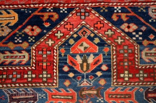 Kazak, Armenian prayer rug, Lampa district.  1890 - 1910.  In great condition.  Original and intact sides and headings.  155 x 97 Cm.  great abrash.   5 ft 2 inch x 3 feet.